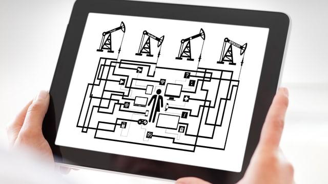 Auf einem Tablet ist eine Grafik zu sehen.