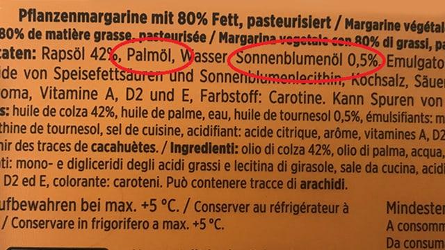 Inhaltsangaben Denner-Margarine