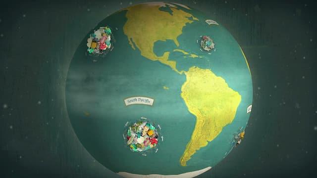 Eine Animation der Erde mit rotierenden Müllstrudeln auf den Weltmeeren.