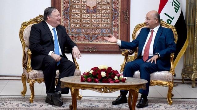 Mike Pompeo mit dem irakischen Präsident Barham Salih