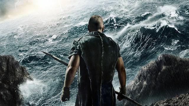 Rücken-Ansicht einer Person, die vor einem Wellen schlagenden Meer steht.
