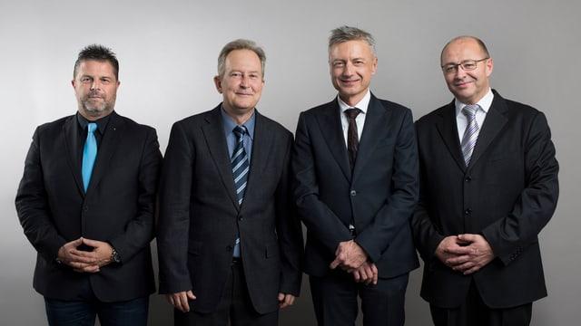 La direcziun da la KEYSTONE-SDA cun CMO Rainer Kupper, CEO Markus Schwab, COO Jann Jenatsch e CFO Daniel Mathys, da sanester.