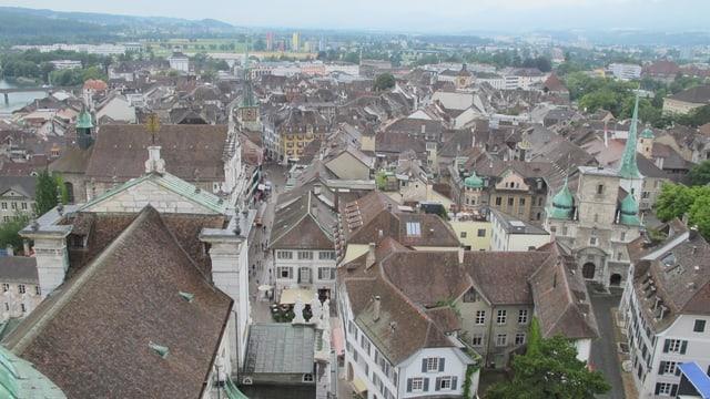Stadt Solothurn von oben mit vielen Dächern