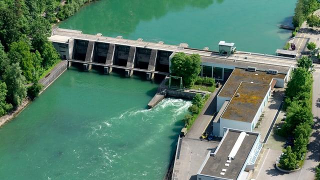 Luftaufnahme Flusskraftwerk Bremgarten-Zufikon