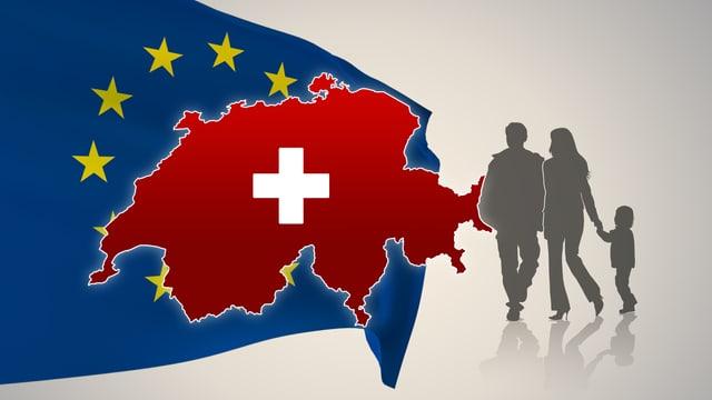 Europa-Flagge mit Schweizerkarte