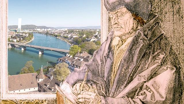 Eine alte Zeichnung von Erasmus, im Hintergrund das moderne Basel.