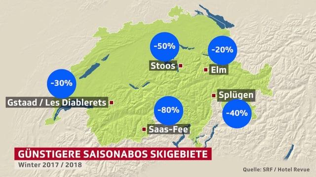 Schweizer Karte mit Skigebieten, die Rabatte anbieten.