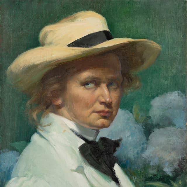 ein Gemälde einer Frau mit Hut