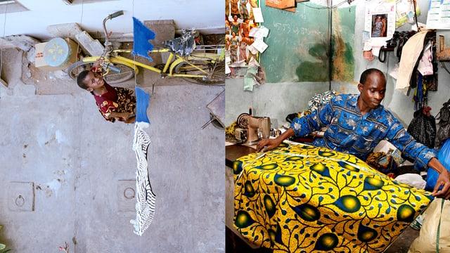 Geteiltes Bild: Rechts ein Schneider vermisst ein buntes Tuch, links ein Mädchen steht in einer Gasse.