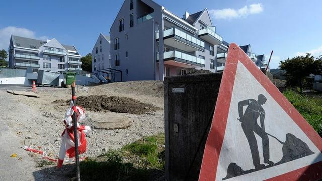 Baustellenschild mit fast fertiger Immobilie im Hintergrund