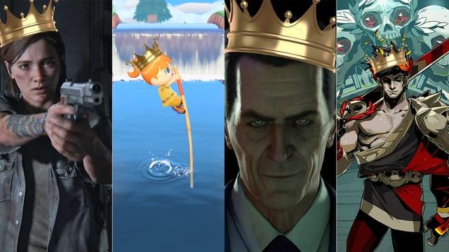 Eine Fotomontage mit Bildern der Games «The Last of Us Part II», «Animal Crossing: New Horizons», «Half-Life: Alyx» und «Hades»