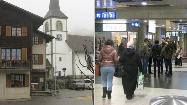 Haus mit Kirche und Bahnhofsunterführung