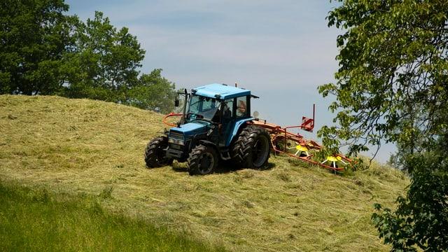 Traktor mit angehängtem Heuwender auf einer gemähten Bergwiese, Himmel im Hintergrund