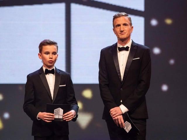 Micha und Büssi auf der Bühne