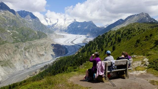 Bänkli mit Aussicht auf den Aletschgletscher