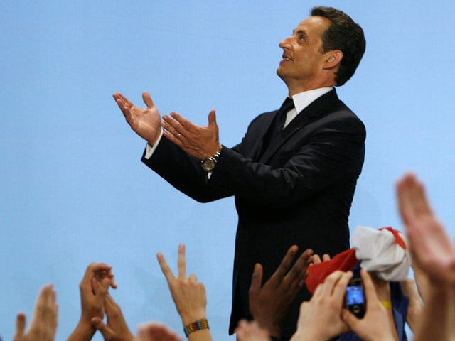 Nicolas Sarkozy, France's newly-elected president, speaks to supporters in Paris after the election results announcement, May 6, 2007. Sarkozy defeated Socialist Party candidate Segolene Royal on Sunday.