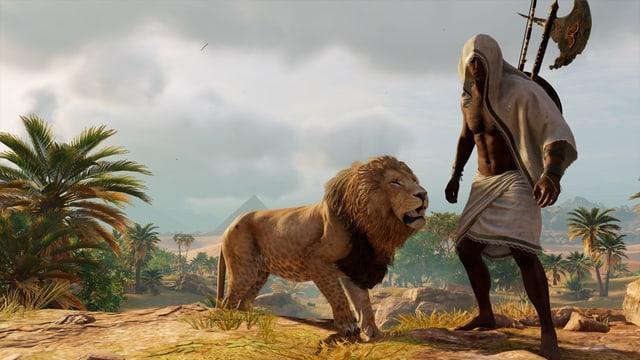 Bayek und sein gezähmter Löwe.