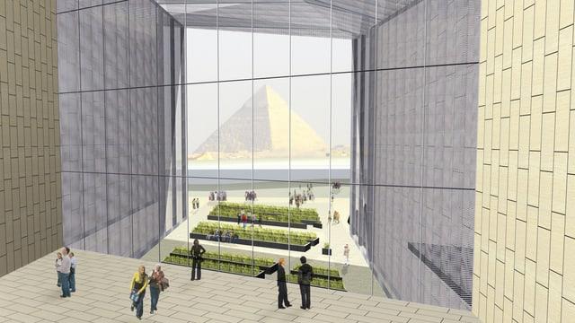 Computeranimation zum Grand Egyptian Museum mit Blick auf Pyramiden von Gizeh.