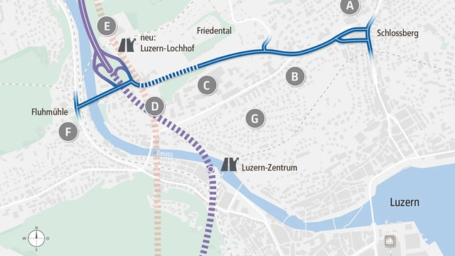 Schematische Darstellung des Strassenprojekts Bypass Luzern.