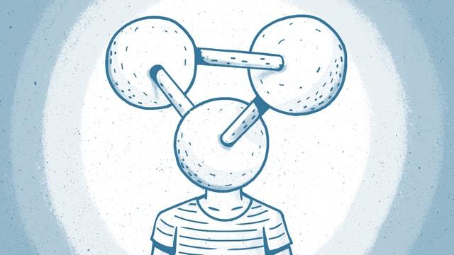 Zeichnung: Eine Figur hat als Kopf ein stilisiertes Molekül.
