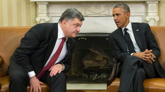 Poroschenko und Obama bei einem Treffen.
