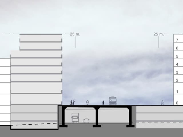 EIne Skizze eines Gebäudes neben der Autobahn.