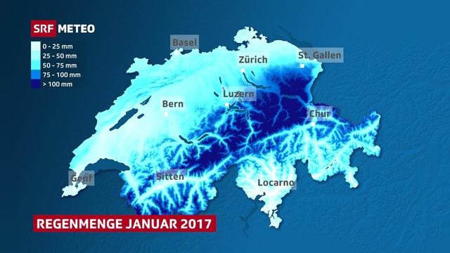 Die Karte zeigt die Regensummen des Januars. Die Alpen der Zentral- und Ostschweiz treten dabei als nasseste Region hervor. Beinahe kein Regen fiel im Tessin.