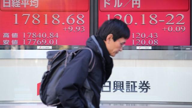 Mann geht an einer elektronischen Anzeigetafel für die Börse in Tokyo vorbei