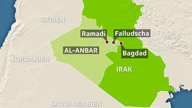 Karte von Irak mit der Provinz Al-Anbar.