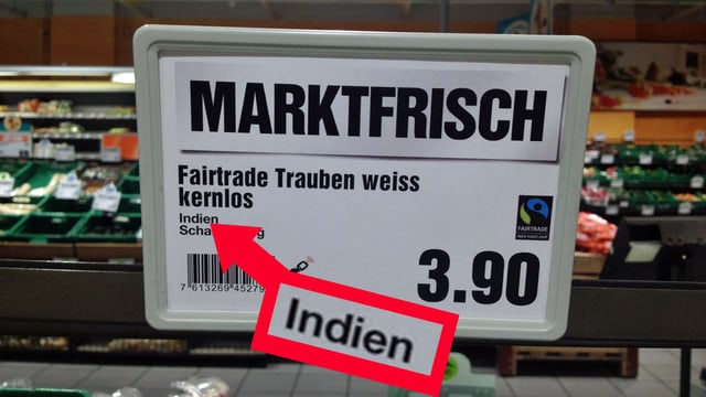 Schild in einem Laden.