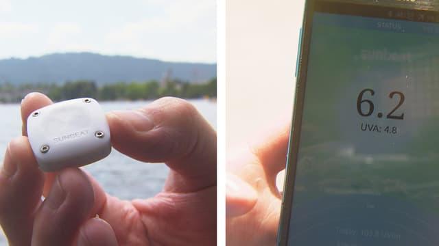 Das kleine Aufzeichnungsgerät und die Darstellung der Werte am Handy.