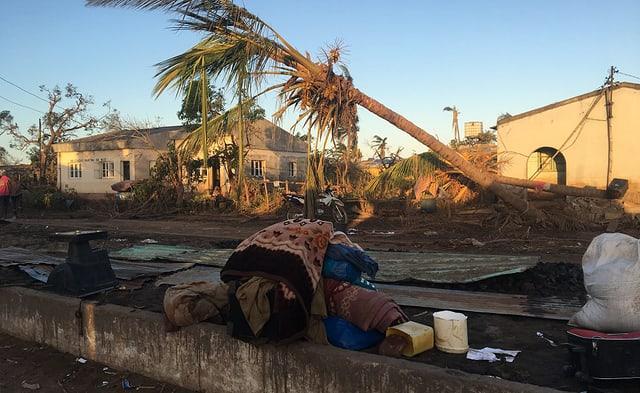 Zerstörtes Gebiet in Mosambik.
