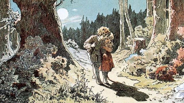Die Märchenfiguren Hänsel und Gretel gehen gemeinsam durch den Wald.
