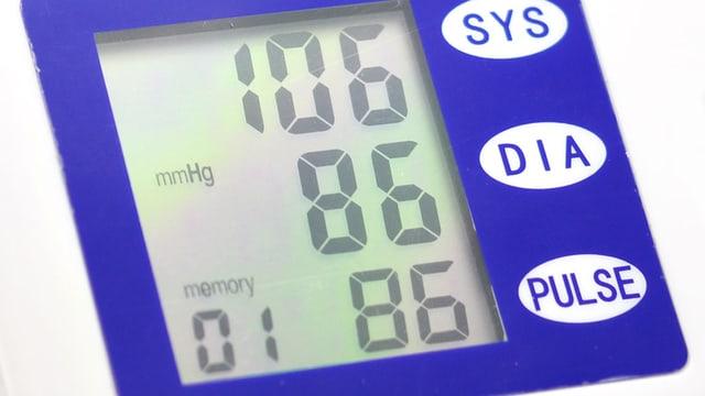 Anzeige eines Blutdruckmessgeräts.