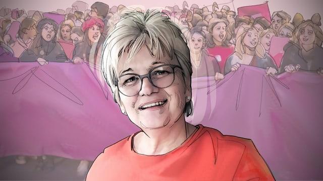Porträt-Illustration: Eine Frau, im Hintergrund streikende Frauen.