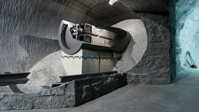 Ein Modell für die Lagerung von Brennstäben im Nagra-Felslabor am Grimsel.