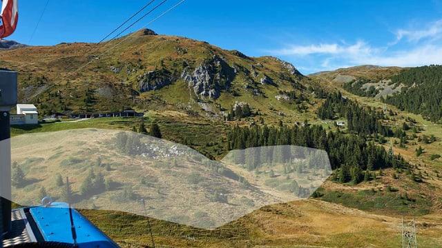 Ansicht der Landschaft mit eingezeichnetem Terrain des geplanten Bärenparks.
