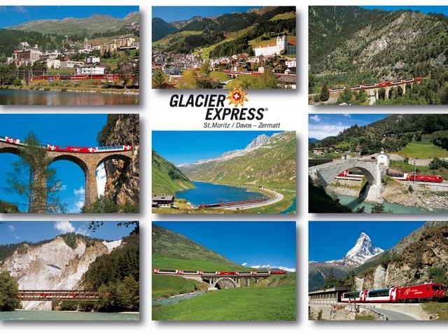 Eine Postkarte mit neun Ansichten zum berühmten Glacier Express.