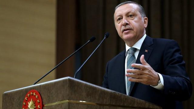 Bild von Erdogan am Rednerpult