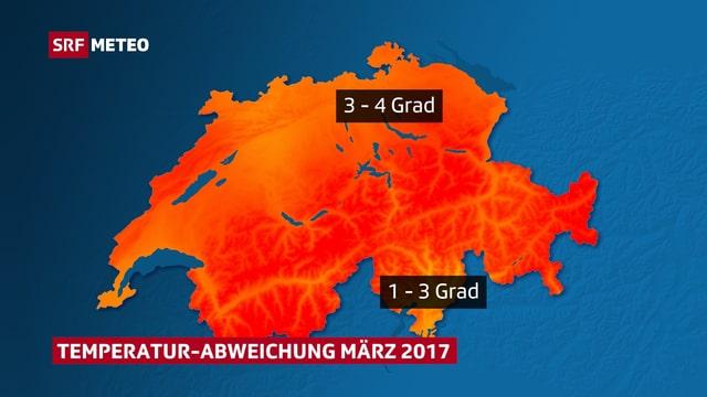 Schweizer Karte, Orange Farbtöne, darauf die die Temperaturabweichung