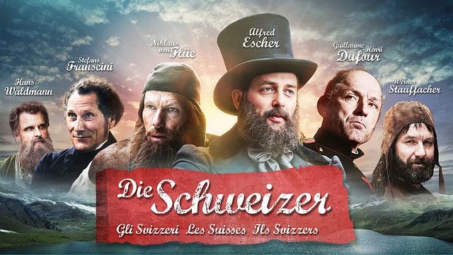 Sechs einflussreiche Persönlichkeiten der Schweizer Geschichte auf dem Keyvisual zur Reihe «Die Schweizer».