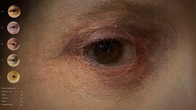 Das Auge auf einem Rembrandt-Gemälde mit Zahlen und geometrischen Formen darauf.