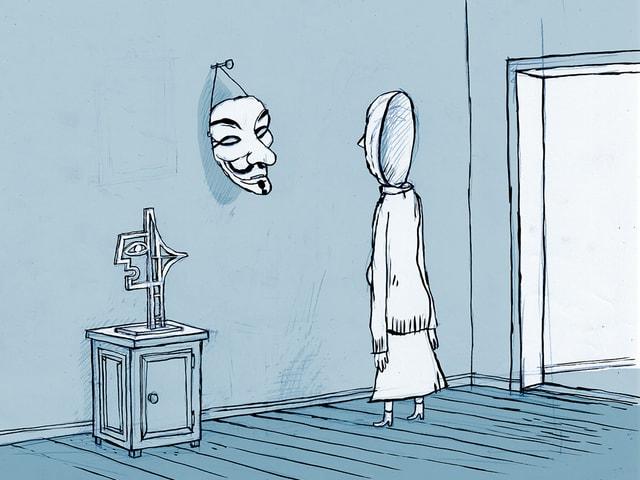 Die Illustration zeigt das Abbild einer Frau, die eine Anonymous-Maske anschaut.