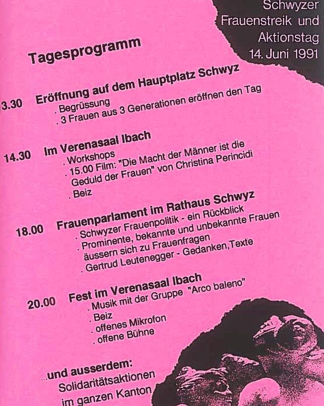 Flyer für den Schwyzer Frauenstreiktag 1991.