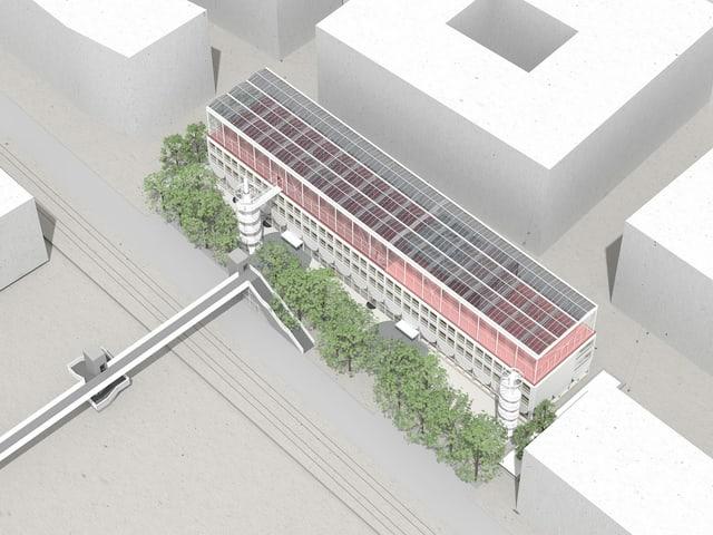 Visualisierung der Schule in Zürich-Wollishofen, mit einer Sportanlage auf dem Dach.