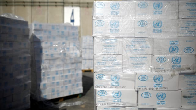 Lebensmittellieferung für den Gazastreifen der UNRWA.