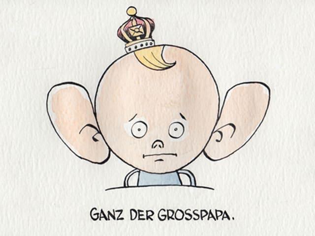 Zu sehen ist ein gezeichnetes Baby mit Segelohren und einem Krönchen auf dem Kopf.
