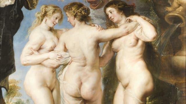 Gemälde von Peter Paul Rubens: Drei füllige Grazien tanzen nackt.
