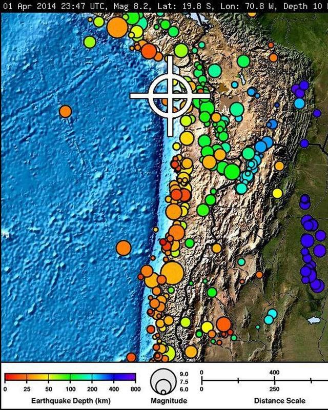 Die Karte der US-Erdbebenwarte zeigt die Stärke des Erdbebens an der chilenischen Küste.