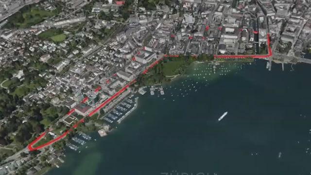 Virtuelle Karte der Stadt Zürich, darauf rot die Rennstrecke
